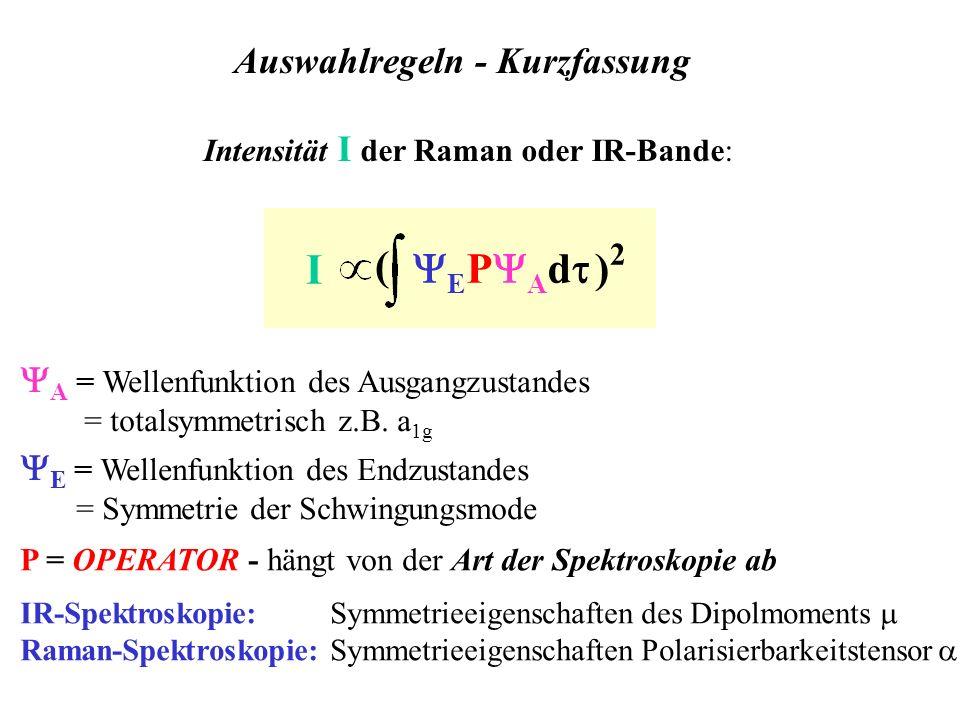 E = Wellenfunktion des Endzustandes = Symmetrie der Schwingungsmode P = OPERATOR - hängt von der Art der Spektroskopie ab IR-Spektroskopie: Symmetriee