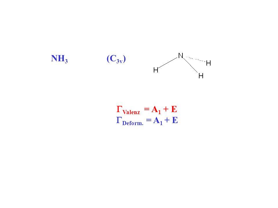 NH 3 (C 3v ) Valenz = A 1 + E Deform. = A 1 + E
