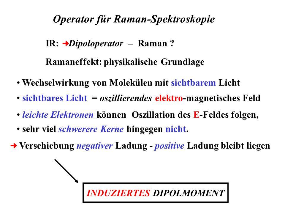 IR: Dipoloperator – Raman ? Ramaneffekt: physikalische Grundlage Wechselwirkung von Molekülen mit sichtbarem Licht Verschiebung negativer Ladung - pos