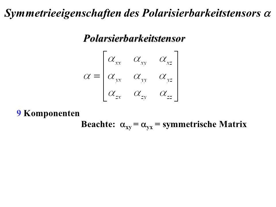9 Komponenten Beachte: xy = yx = symmetrische Matrix Polarsierbarkeitstensor Symmetrieeigenschaften des Polarisierbarkeitstensors