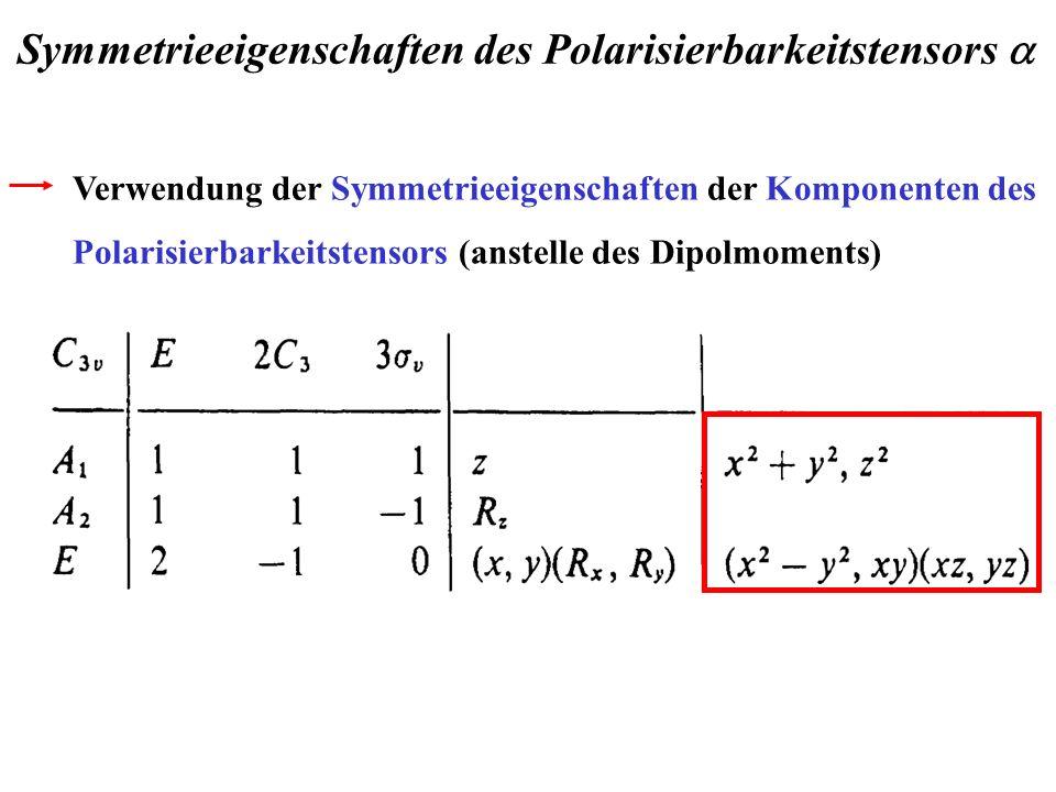 Verwendung der Symmetrieeigenschaften der Komponenten des Polarisierbarkeitstensors (anstelle des Dipolmoments) Symmetrieeigenschaften des Polarisierb