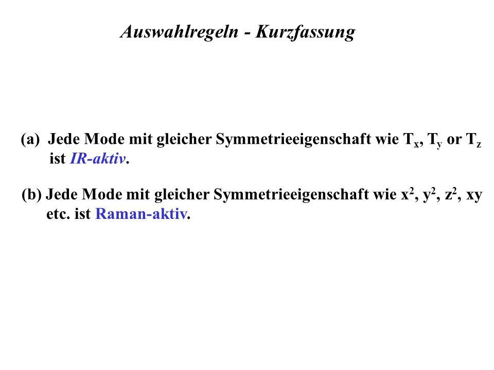 (a) Jede Mode mit gleicher Symmetrieeigenschaft wie T x, T y or T z ist IR-aktiv. (b) Jede Mode mit gleicher Symmetrieeigenschaft wie x 2, y 2, z 2, x