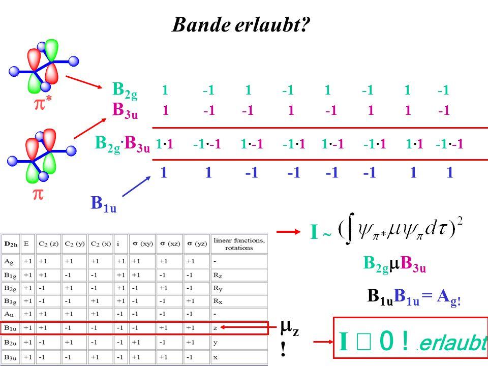 Bande erlaubt? B 2g 1 -1 1 -1 1 -1 1 -1 B 3u 1 -1 -1 1 -1 1 1 -1 B 2g. B 3u 1·1 -1·-1 1·-1 -1·1 1·-1 -1·1 1·1 -1·-1 1 1 -1 -1 -1 -1 1 1 B 1u z ! I B 2
