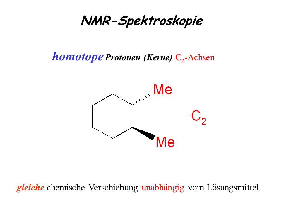 NMR-Spektroskopie homotope Protonen (Kerne) C n -Achsen gleiche chemische Verschiebung unabhängig vom Lösungsmittel