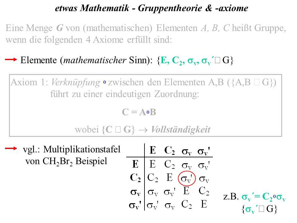 etwas Mathematik - Gruppentheorie & -axiome Eine Menge G von (mathematischen) Elementen A, B, C heißt Gruppe, wenn die folgenden 4 Axiome erfüllt sind