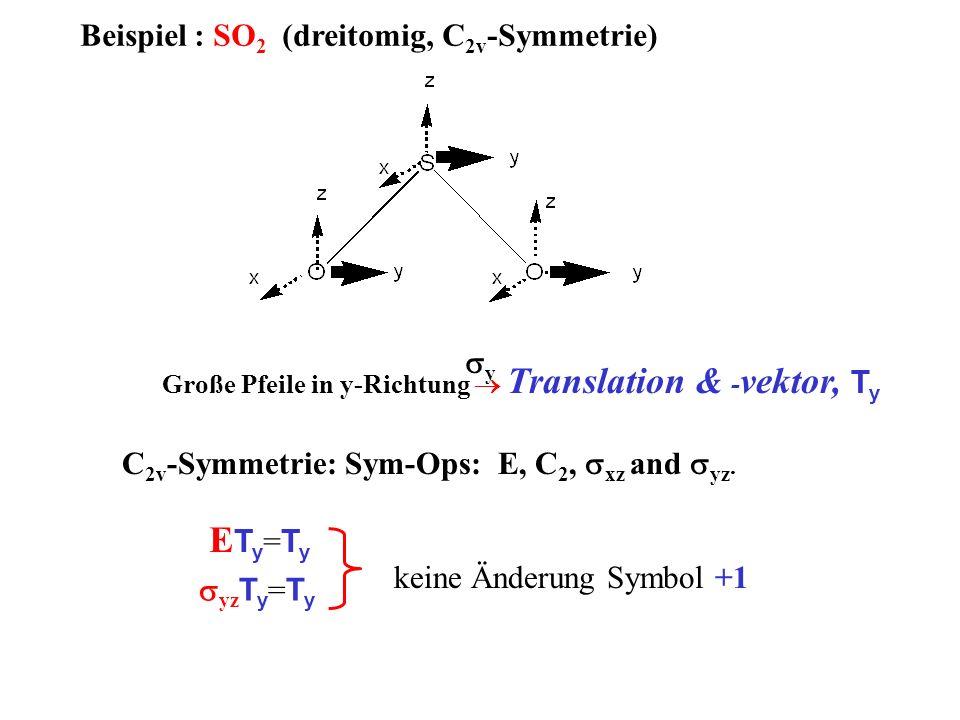 Beispiel : SO 2 (dreitomig, C 2v -Symmetrie) C 2v -Symmetrie: Sym-Ops: E, C 2, xz and yz. Große Pfeile in y-Richtung Translation & - vektor, T y y E T