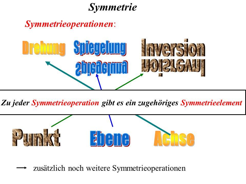 Symmetrie Symmetrieoperationen: zusätzlich noch weitere Symmetrieoperationen Zu jeder Symmetrieoperation gibt es ein zugehöriges Symmetrieelement