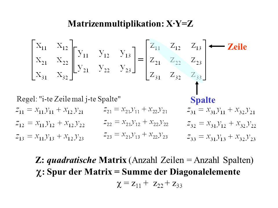 Zeile Spalte Z: quadratische Matrix (Anzahl Zeilen = Anzahl Spalten) Matrizenmultiplikation: X·Y=Z : Spur der Matrix = Summe der Diagonalelemente = z