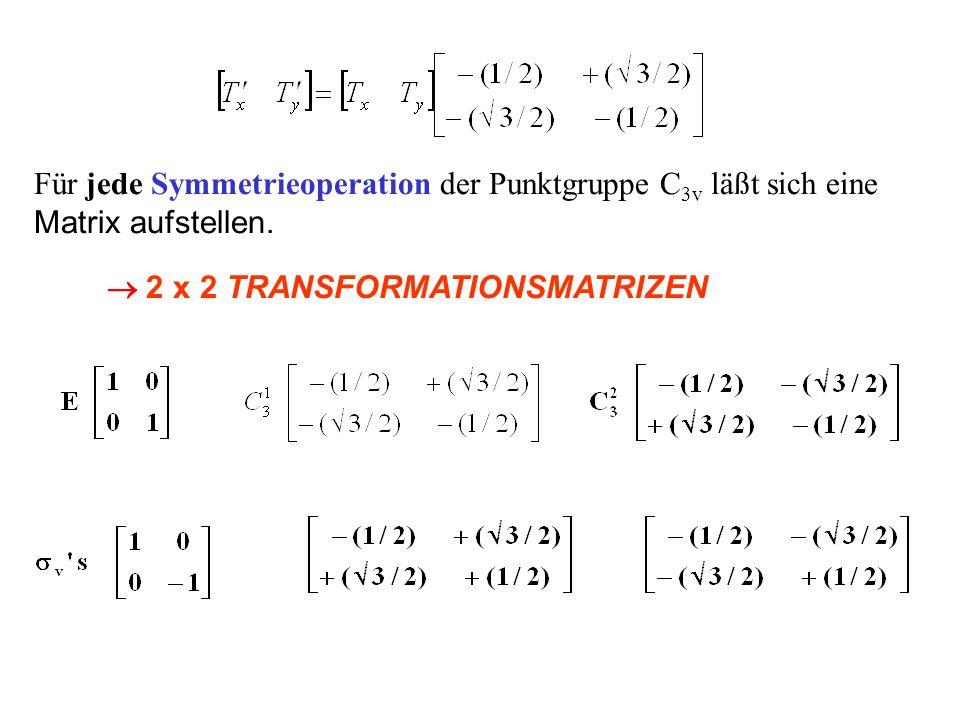 Für jede Symmetrieoperation der Punktgruppe C 3v läßt sich eine Matrix aufstellen. 2 x 2 TRANSFORMATIONSMATRIZEN