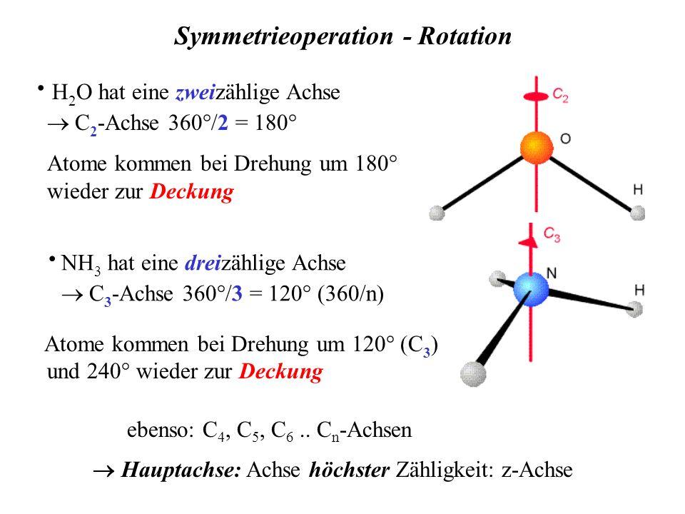 · H 2 O hat eine zweizählige Achse C 2 -Achse 360°/2 = 180° Atome kommen bei Drehung um 180° wieder zur Deckung Hauptachse: Achse höchster Zähligkeit: