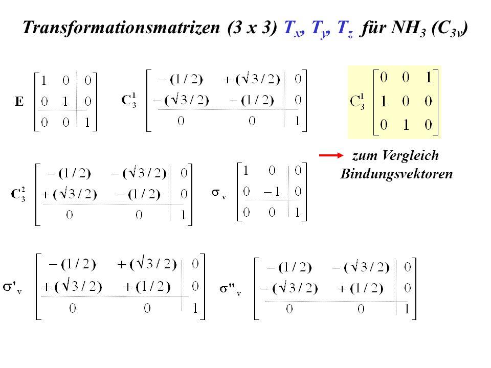 Transformationsmatrizen (3 x 3) T x, T y, T z für NH 3 (C 3v ) zum Vergleich Bindungsvektoren