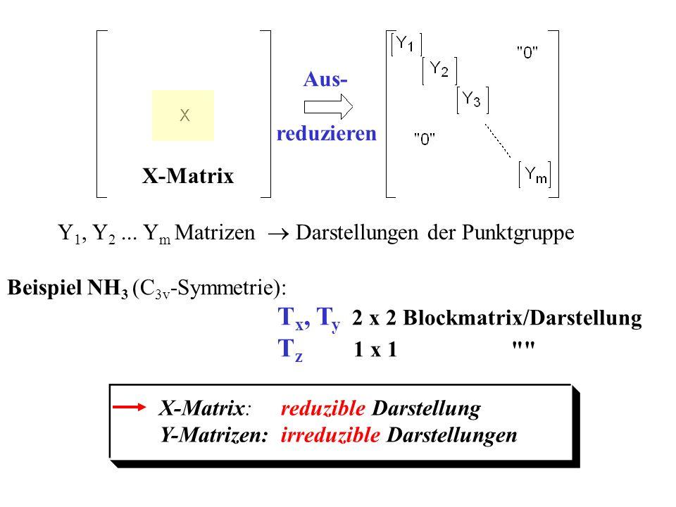 Aus- reduzieren Y 1, Y 2... Y m Matrizen Darstellungen der Punktgruppe Beispiel NH 3 (C 3v -Symmetrie): T x, T y 2 x 2 Blockmatrix/Darstellung T z 1 x
