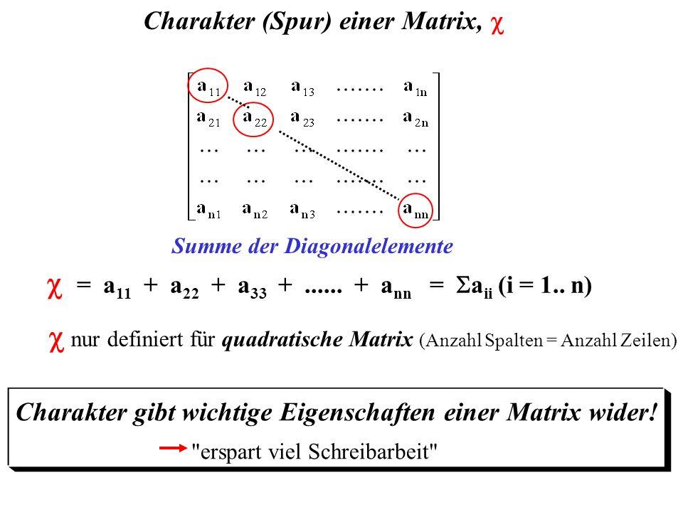 Summe der Diagonalelemente = a 11 + a 22 + a 33 +...... + a nn = a ii (i = 1.. n) Charakter (Spur) einer Matrix, nur definiert für quadratische Matrix
