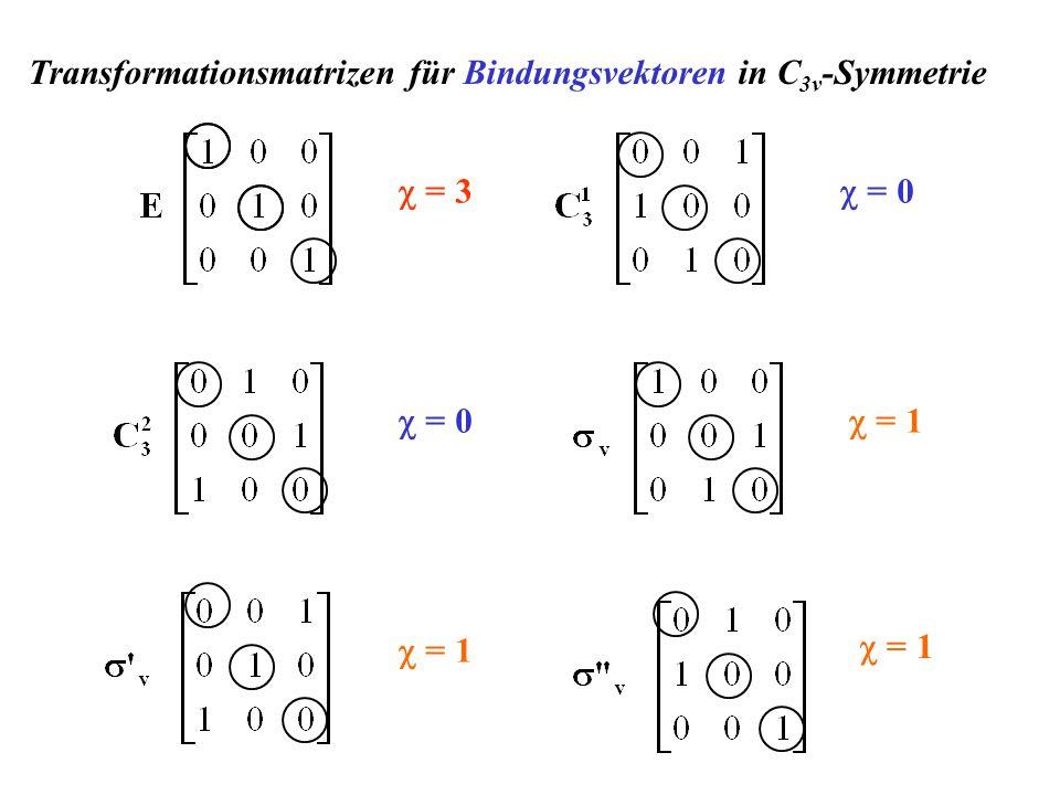 = 3 = 0 = 1 Transformationsmatrizen für Bindungsvektoren in C 3v -Symmetrie
