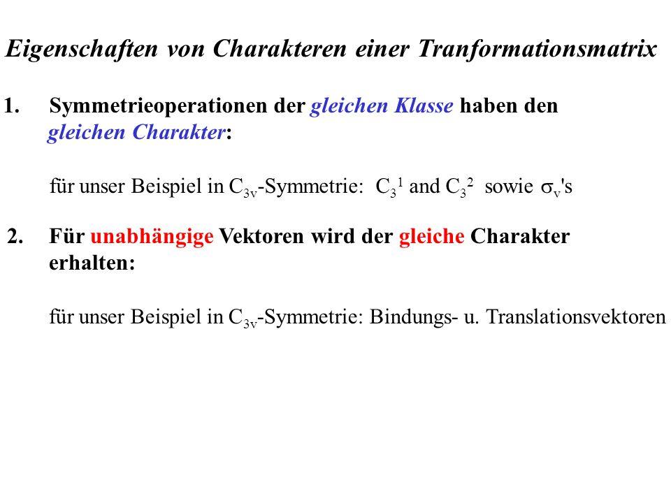 1.Symmetrieoperationen der gleichen Klasse haben den gleichen Charakter: für unser Beispiel in C 3v -Symmetrie: C 3 1 and C 3 2 sowie v 's 2.Für unabh