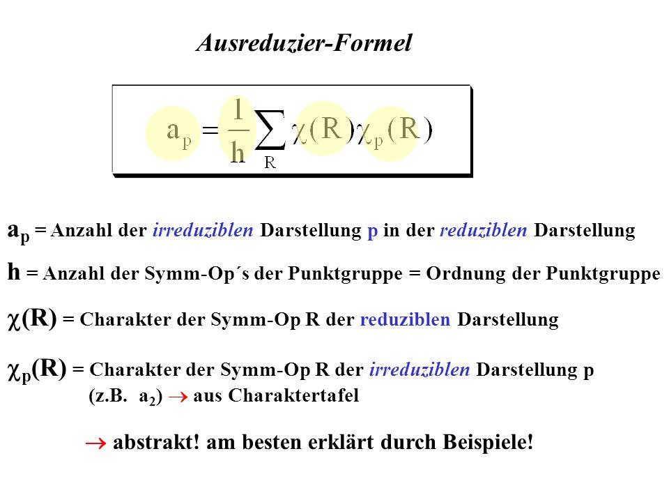 abstrakt! am besten erklärt durch Beispiele! Ausreduzier-Formel a p = Anzahl der irreduziblen Darstellung p in der reduziblen Darstellung h = Anzahl d