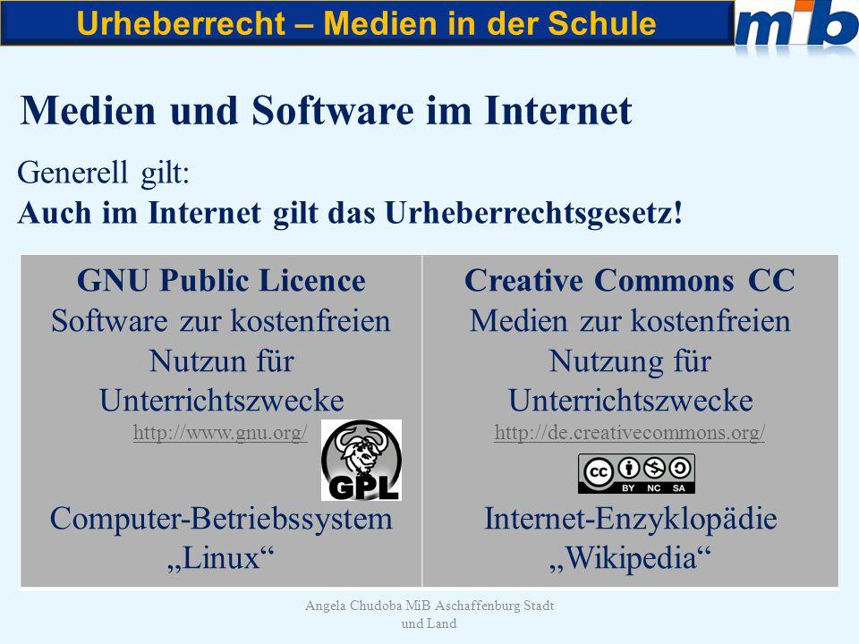 Urheberrecht – Medien in der Schule Angela Chudoba MiB Aschaffenburg Stadt und Land Medien und Software im Internet Generell gilt: Auch im Internet gi