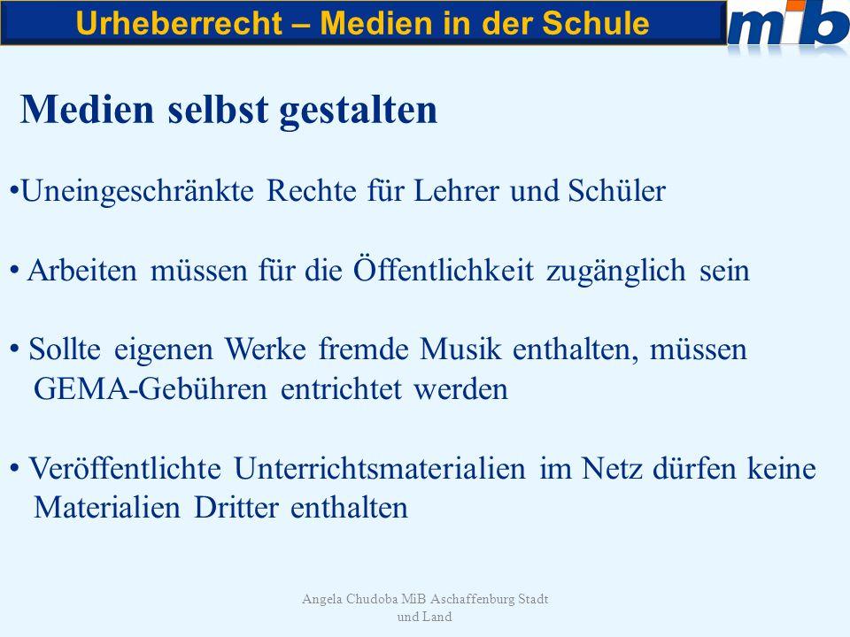 Urheberrecht – Medien in der Schule Angela Chudoba MiB Aschaffenburg Stadt und Land Medien selbst gestalten Uneingeschränkte Rechte für Lehrer und Sch