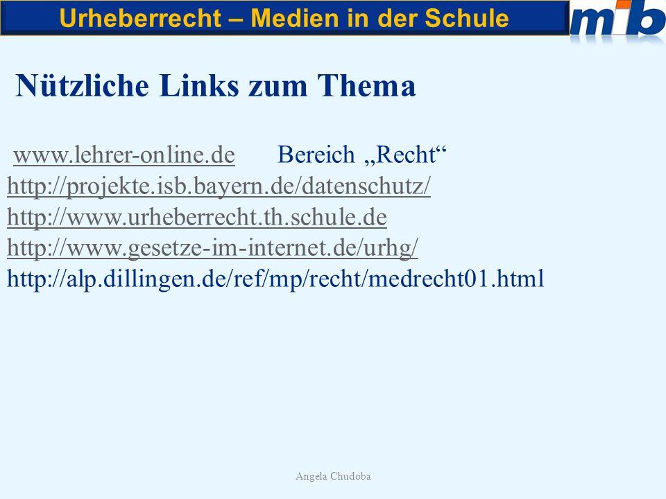 Urheberrecht – Medien in der Schule Angela Chudoba Nützliche Links zum Thema www.lehrer-online.de Bereich Rechtwww.lehrer-online.de http://projekte.is