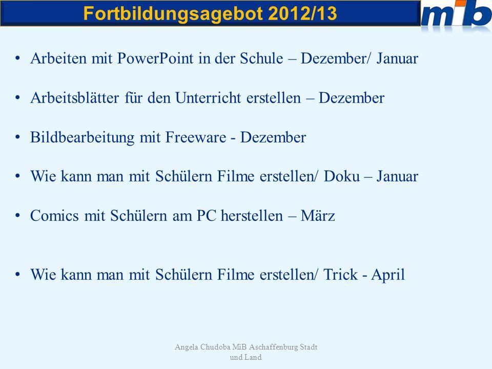 Fortbildungsagebot 2012/13 Angela Chudoba MiB Aschaffenburg Stadt und Land Arbeiten mit PowerPoint in der Schule – Dezember/ Januar Arbeitsblätter für