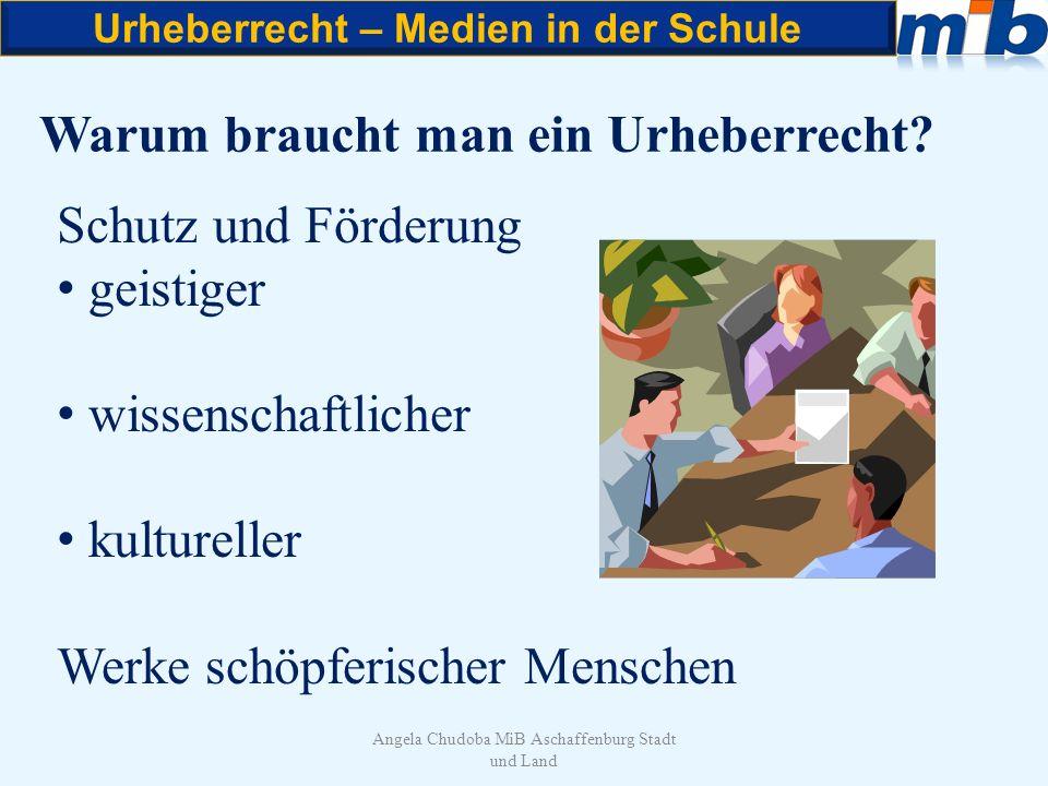 Urheberrecht – Medien in der Schule Angela Chudoba MiB Aschaffenburg Stadt und Land Grundsätze des Urheberrechts Das Kopieren eines Werkes ohne Zustimmung des Rechtinhabers ist verboten.
