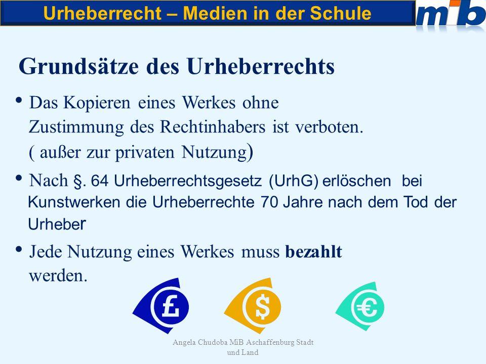 Urheberrecht – Medien in der Schule Angela Chudoba MiB Aschaffenburg Stadt und Land Grundsätze des Urheberrechts Das Kopieren eines Werkes ohne Zustim