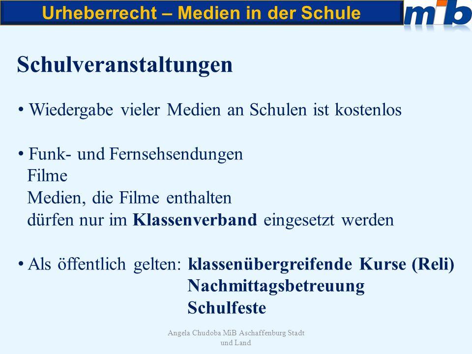 Urheberrecht – Medien in der Schule Angela Chudoba MiB Aschaffenburg Stadt und Land Schulveranstaltungen Wiedergabe vieler Medien an Schulen ist koste