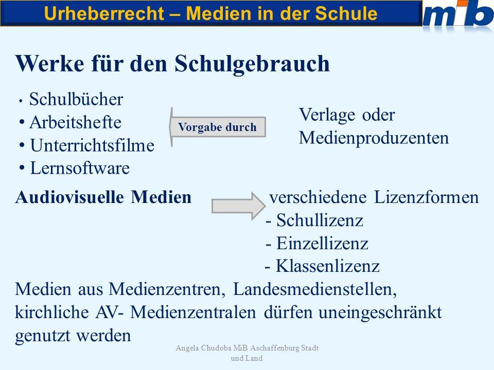 Urheberrecht – Medien in der Schule Angela Chudoba MiB Aschaffenburg Stadt und Land Kopieren und Vervielfältigen Grundsätzlich gilt: Vervielfältigungsstücke auf beliebigem Träger Papier, CD, DVD, Festplatte, Stick, Folie usw.