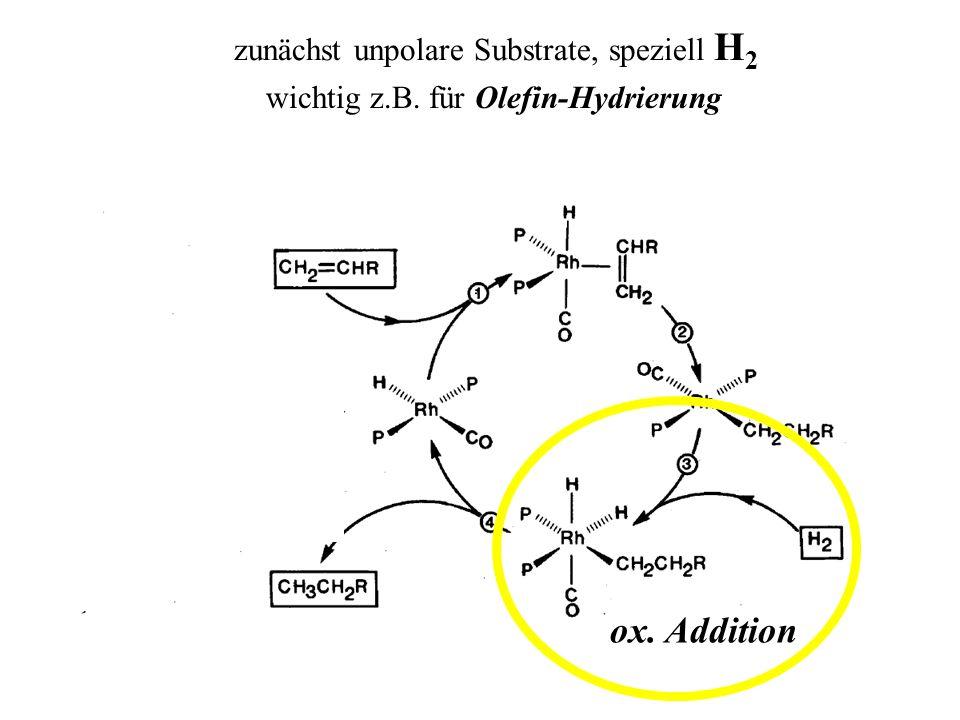 ox. Addition zunächst unpolare Substrate, speziell H 2 wichtig z.B. für Olefin-Hydrierung