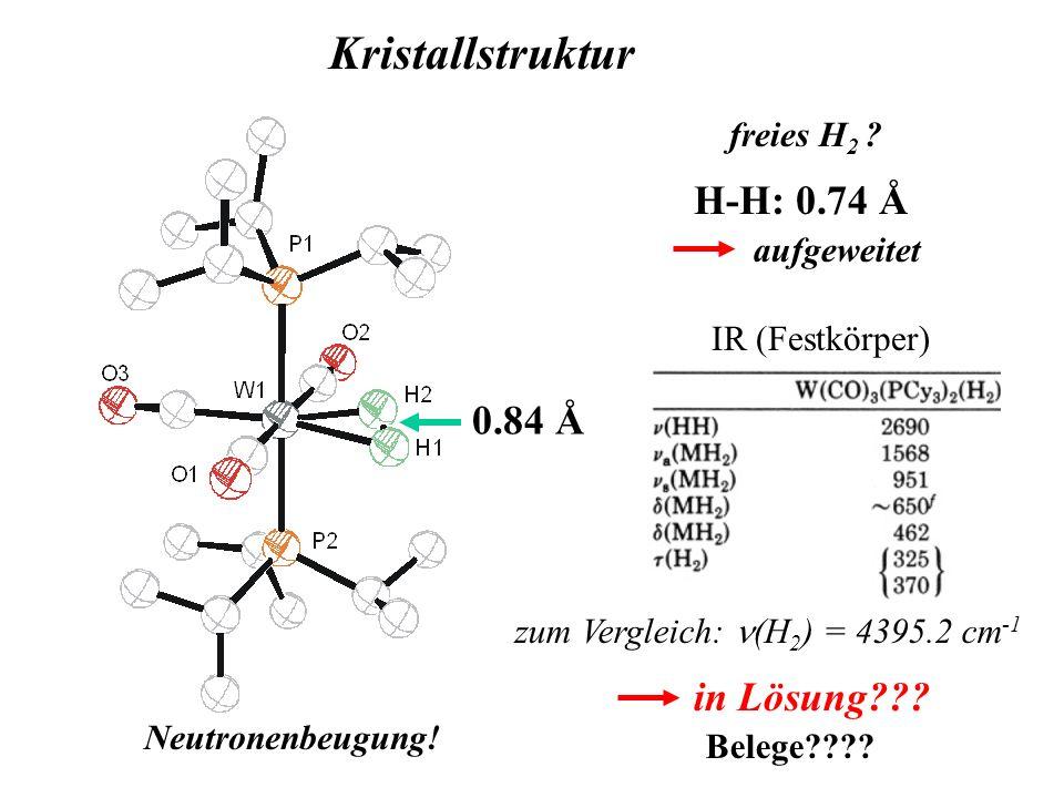 0.84 Å Kristallstruktur Neutronenbeugung! freies H 2 ? H-H: 0.74 Å aufgeweitet IR (Festkörper) in Lösung??? zum Vergleich: (H 2 ) = 4395.2 cm -1 Beleg