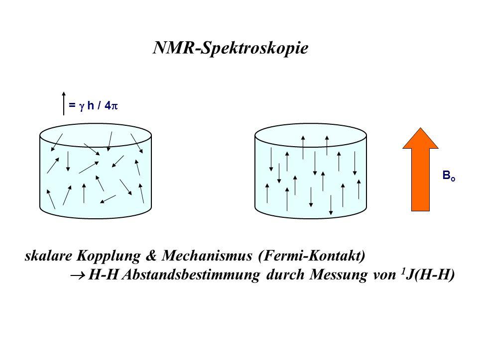 BoBo = h / 4 NMR-Spektroskopie skalare Kopplung & Mechanismus (Fermi-Kontakt) H-H Abstandsbestimmung durch Messung von 1 J(H-H)