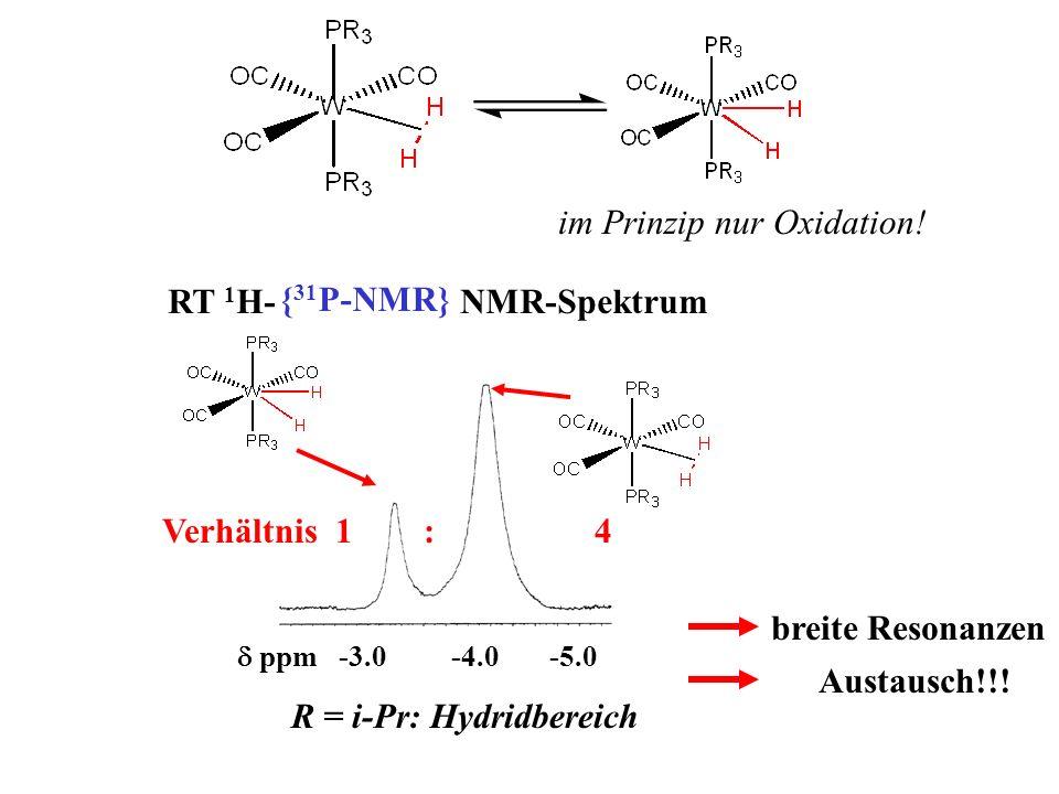 im Prinzip nur Oxidation! { 31 P-NMR} RT 1 H- NMR-Spektrum R = i-Pr: Hydridbereich ppm -3.0 -4.0 -5.0 Verhältnis 1 : 4 breite Resonanzen Austausch!!!