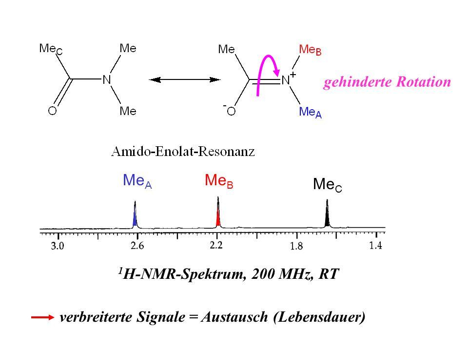 gehinderte Rotation C Me B Me A 1 H-NMR-Spektrum, 200 MHz, RT Me C verbreiterte Signale = Austausch (Lebensdauer)