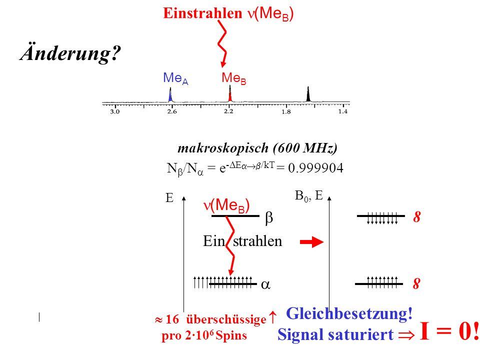 Me B Me A mikroskopisch E = H ·B 0 ·h/2 B 0, E 8 8 B 0, E Gleichbesetzung! Signal saturiert I = 0! makroskopisch (600 MHz) N /N = e - E /kT = 0.999904