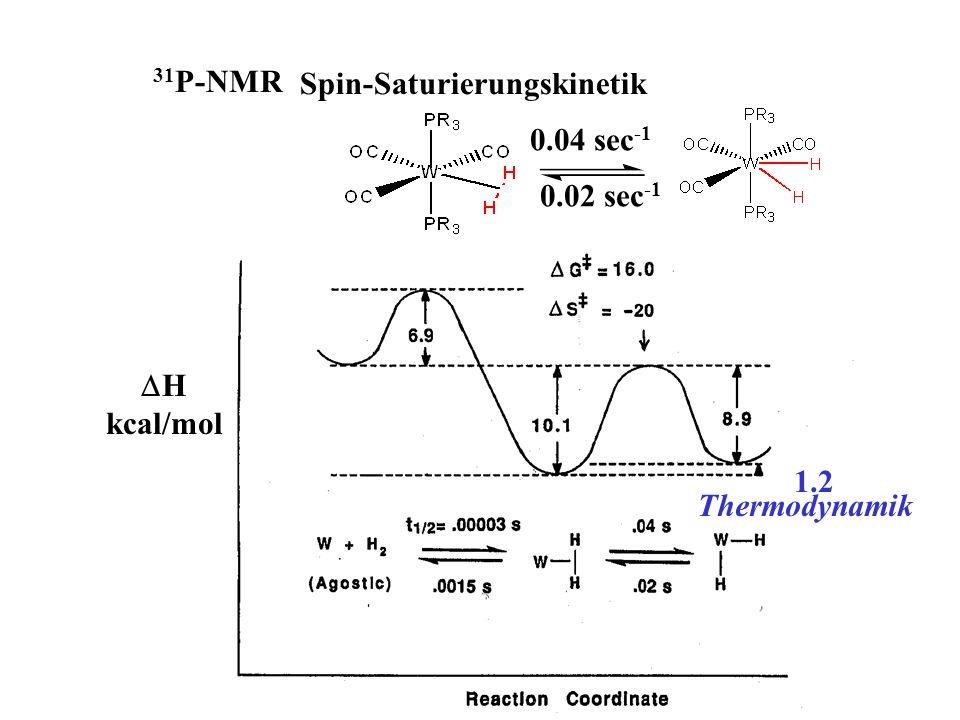 Spin-Saturierungskinetik 0.04 sec -1 0.02 sec -1 31 P-NMR 1.2 H kcal/mol Thermodynamik