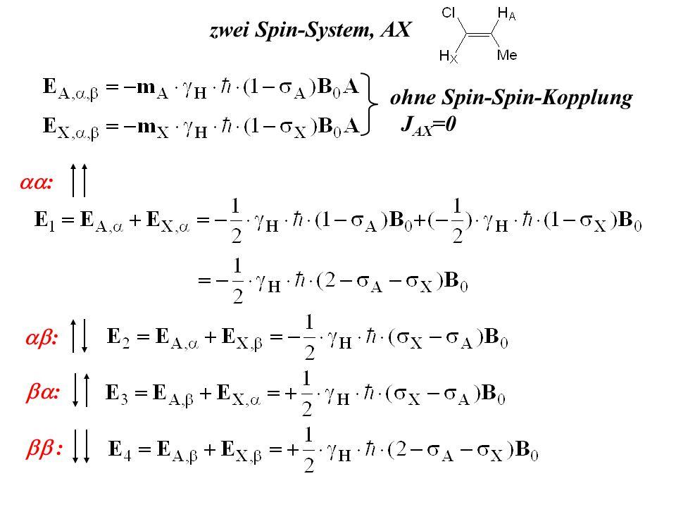 zwei Spin-System, AX ohne Spin-Spin-Kopplung J AX =0 : : : :