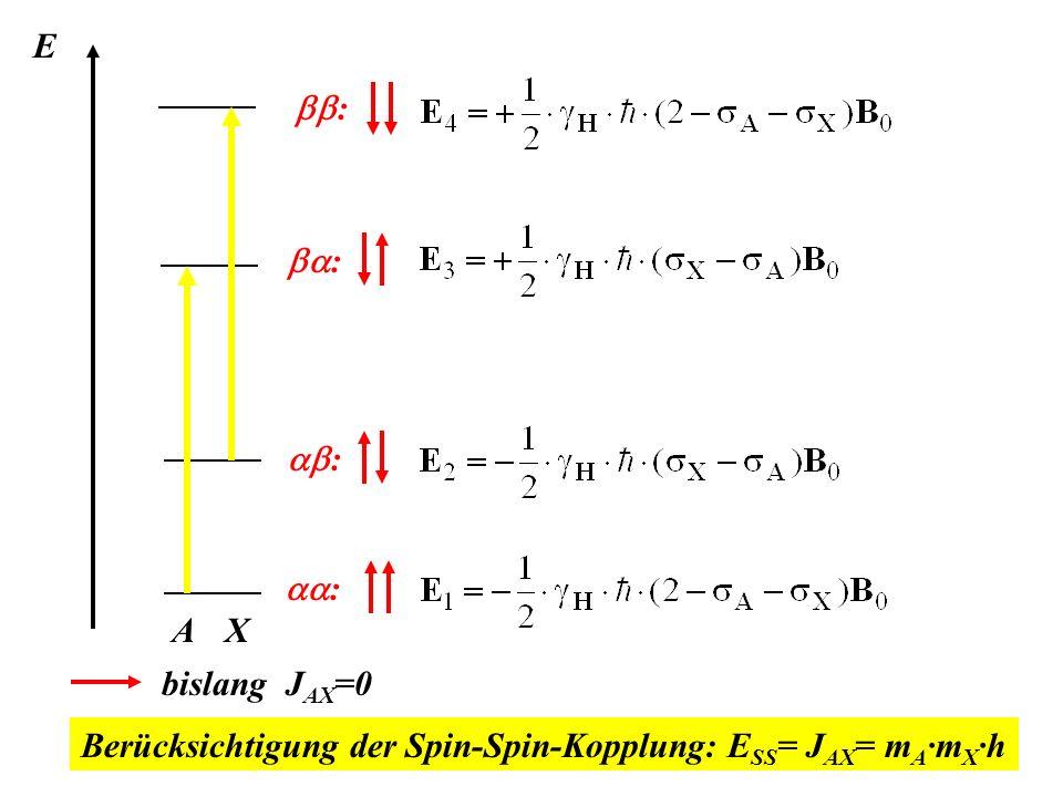 E : : : : A X bislang J AX =0 Berücksichtigung der Spin-Spin-Kopplung: E SS = J AX = m A ·m X ·h