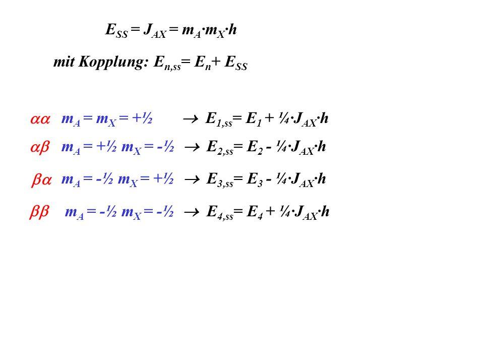 E SS = J AX = m A ·m X ·h mit Kopplung: E n,ss = E n + E SS m A = m X = +½ E 1,ss = E 1 + ¼·J AX ·h m A = +½ m X = -½ E 2,ss = E 2 - ¼·J AX ·h m A = -