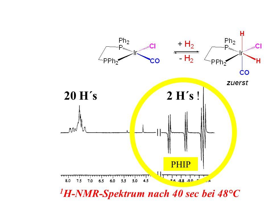 1 H-NMR-Spektrum nach 40 sec bei 48°C PHIP 20 H´s2 H´s !