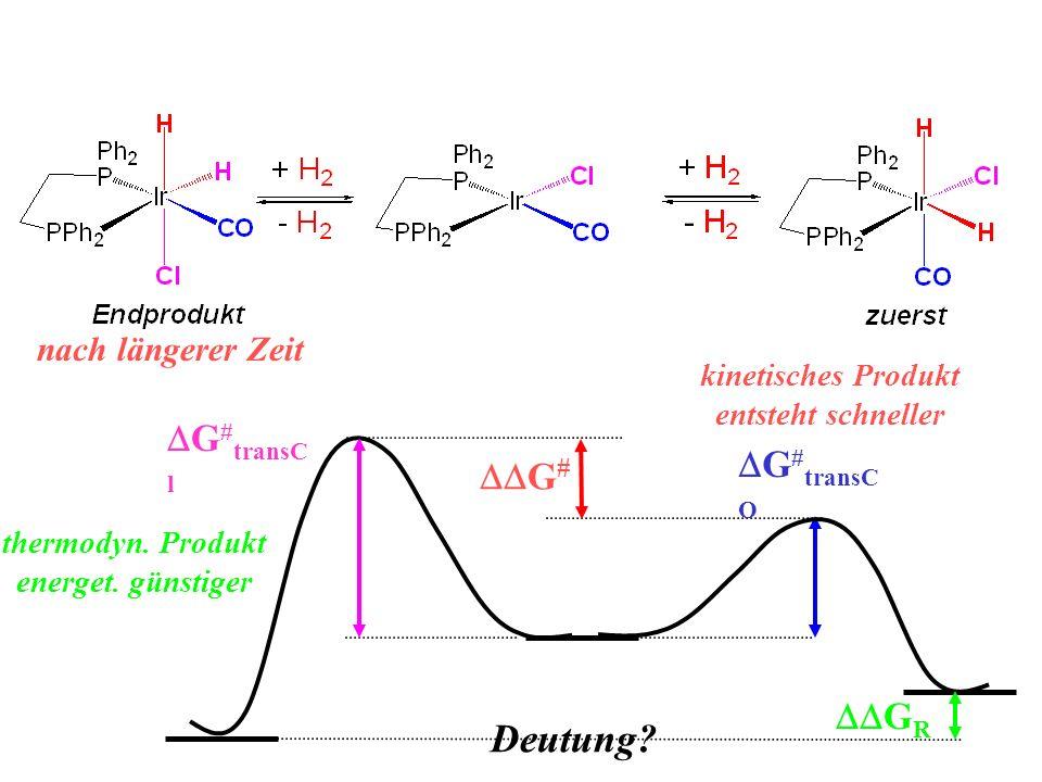 nach längerer Zeit Deutung? G # G # transC O G # transC l G R kinetisches Produkt entsteht schneller thermodyn. Produkt energet. günstiger