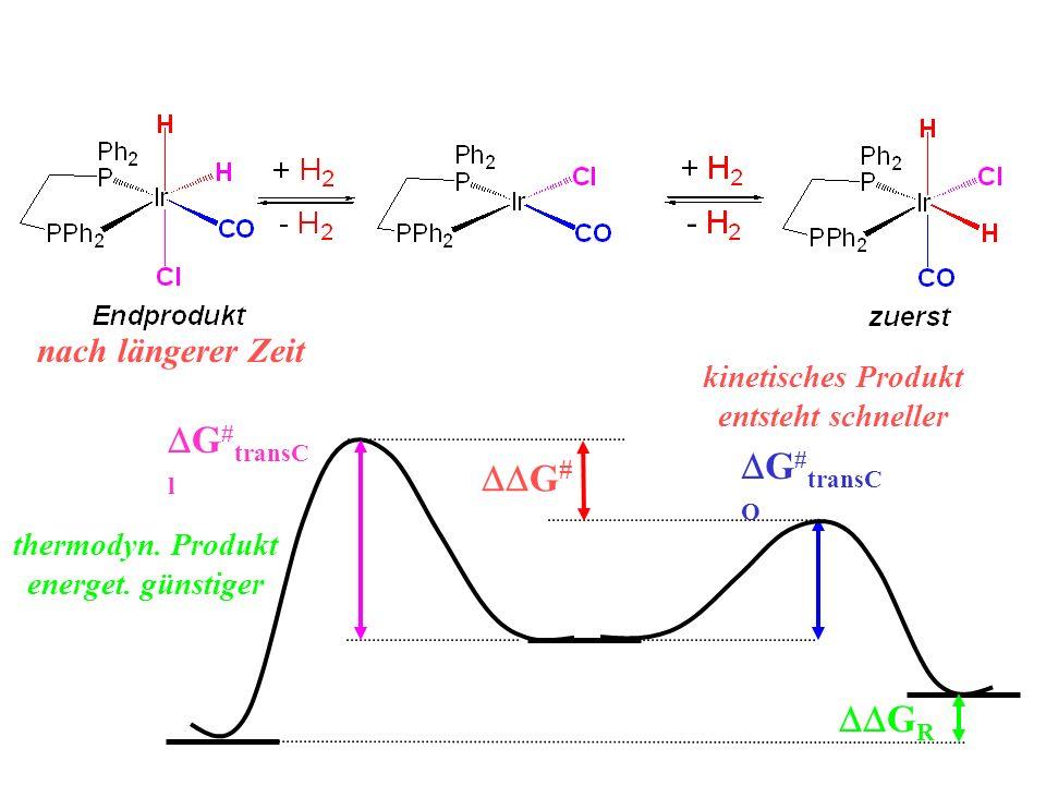 nach längerer Zeit G # G # transC O G # transC l G R kinetisches Produkt entsteht schneller thermodyn. Produkt energet. günstiger
