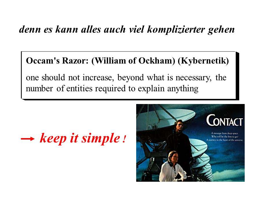 denn es kann alles auch viel komplizierter gehen keep it simple ! Occam's Razor: (William of Ockham) (Kybernetik) one should not increase, beyond what