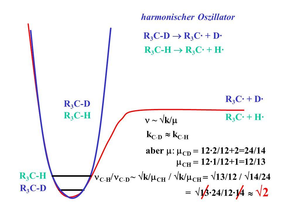 R 3 C-D R 3 C· + D· R 3 C· + D· R 3 C-D k C-D k C-H aber CD 12·2/12+2=24/14 CH 12·1/12+1=12/13 ~ k/ harmonischer Oszillator R 3 C-H R 3 C· + H· R 3 C-