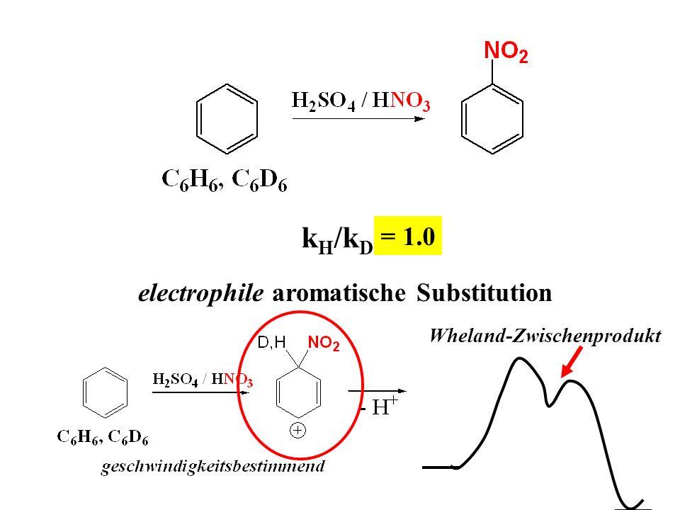 k H /k D ? = 1.0 electrophile aromatische Substitution Wheland-Zwischenprodukt