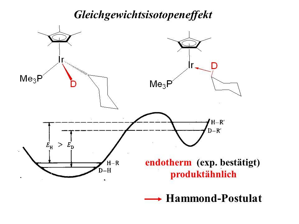 Gleichgewichtsisotopeneffekt endotherm (exp. bestätigt) produktähnlich Hammond-Postulat