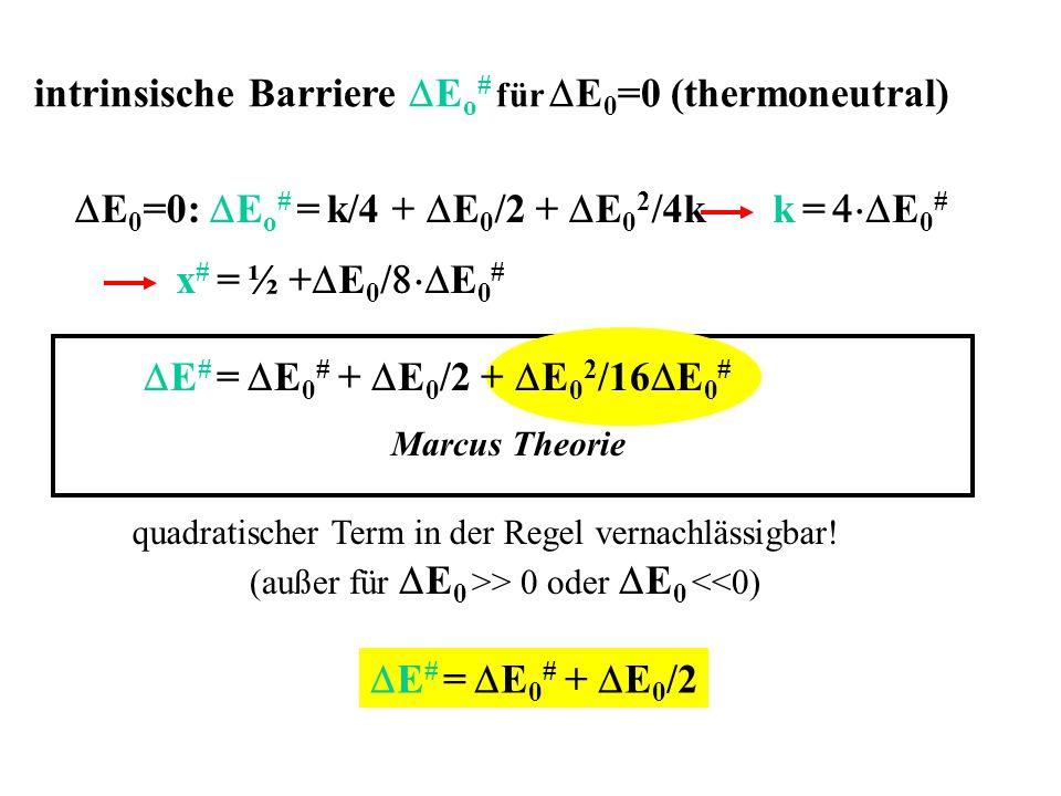 x # = ½ + E 0 / E 0 # E 0 =0: E o # = k/4 + E 0 /2 + E 0 2 /4kk = E 0 # Marcus Theorie E # = E 0 # + E 0 /2 + E 0 2 /16 E 0 # quadratischer Term in de
