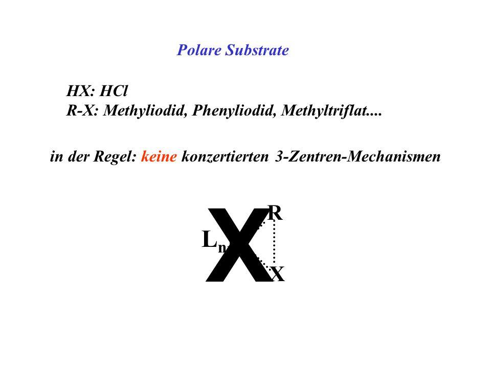 Polare Substrate HX: HCl R-X: Methyliodid, Phenyliodid, Methyltriflat.... in der Regel: keine konzertierten 3-Zentren-Mechanismen LnMLnM R X X