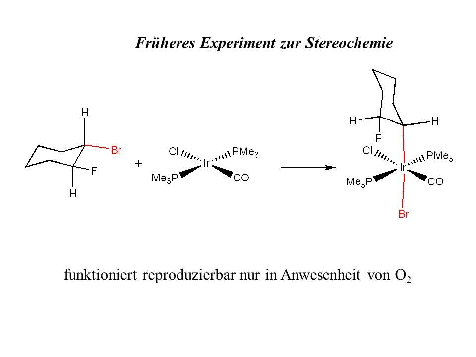 Früheres Experiment zur Stereochemie funktioniert reproduzierbar nur in Anwesenheit von O 2