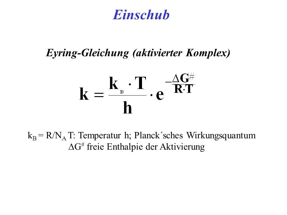 Eyring-Gleichung (aktivierter Komplex) k B = R/N A T: Temperatur h; Planck´sches Wirkungsquantum G # freie Enthalpie der Aktivierung Einschub