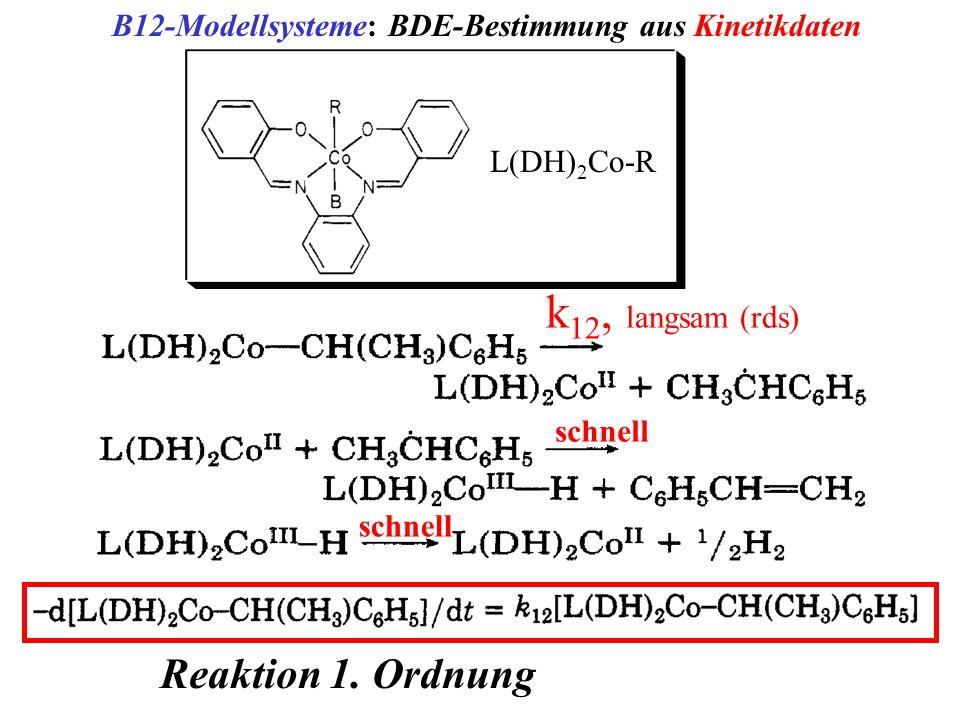 B12-Modellsysteme: BDE-Bestimmung aus Kinetikdaten L(DH) 2 Co-R schnell k 12, langsam (rds) schnell Reaktion 1. Ordnung